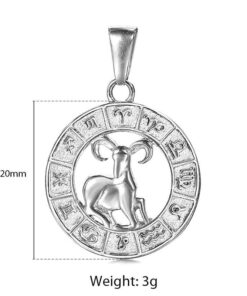 Aries Silver Necklace Size
