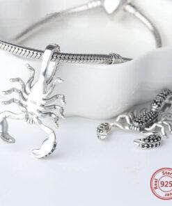 Black Diamond Scorpion Pendant silver charm