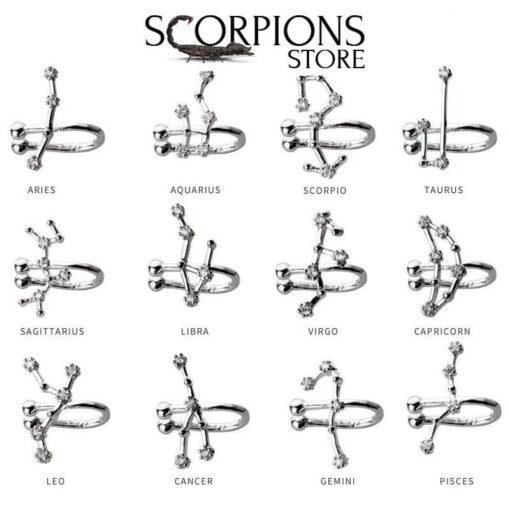 Collection Scorpio Constellation Earrings Clip Women Silver_