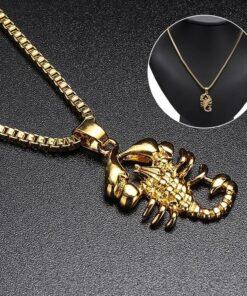 Gold Scorpion Necklace Men