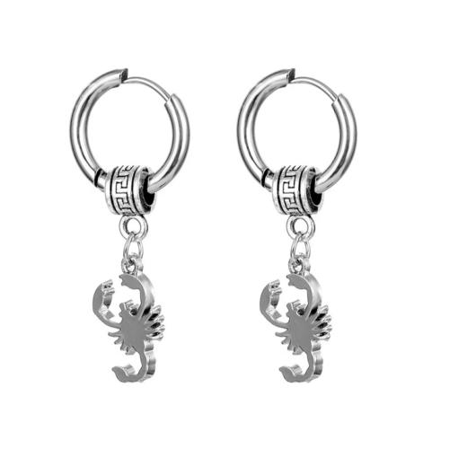 Hoop Scorpion Earrings silver pair