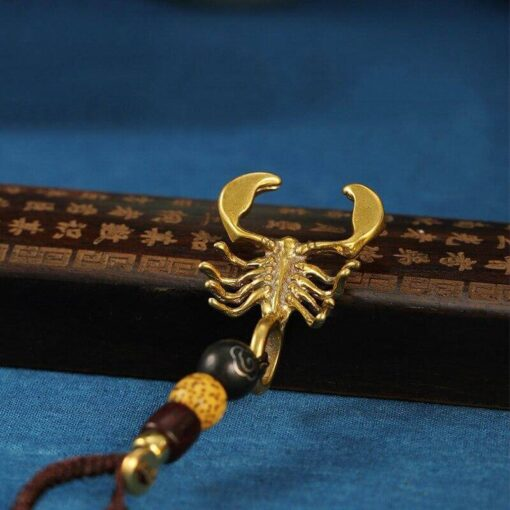 Metal Scorpion Keychain wood bids and Lanyard