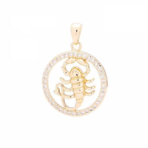 Scorpio Zodiac Pendant Necklace Gold Zircon
