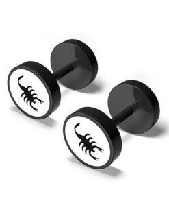 Scorpion Earrings Men Black Color