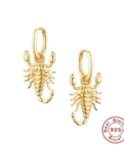Scorpion Hoop Earrings Real Silver Sterling Gold 18k Plated Women