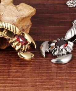 Scorpion Necklace Red Stone Silver