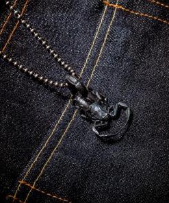Scorpion Pendant Silver necklace black