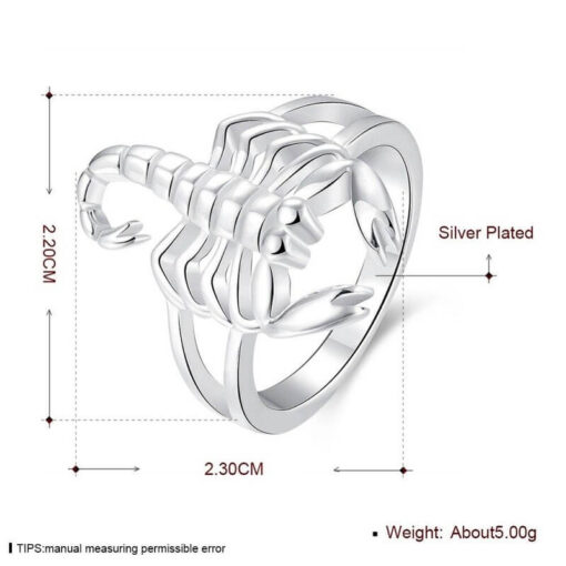 Scorpion Ring Silver Size