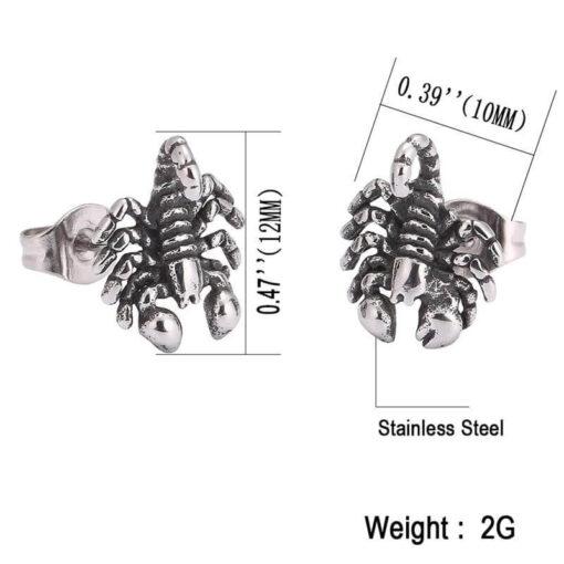 Scorpion Stud Earrings stainless steel size