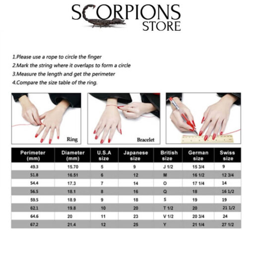 Scorpions Store Ring Size