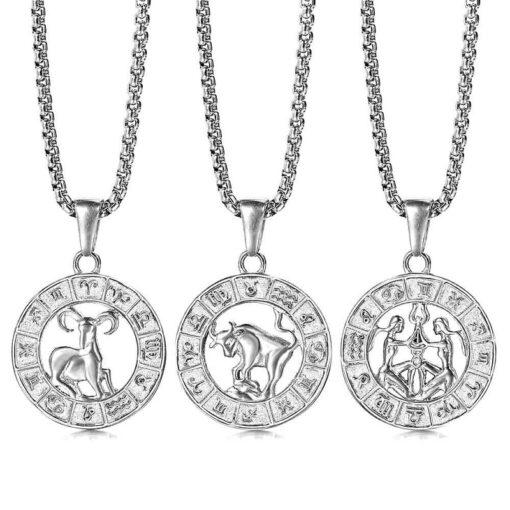 Silver Color Zodiac Necklaces