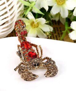 Full red Rhinestone Scorpion Brooch flowers