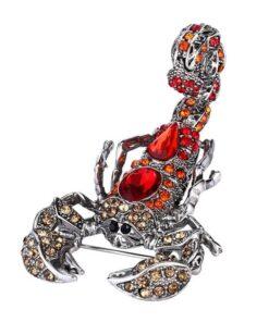 Full red and shiny Rhinestone Scorpion Brooch