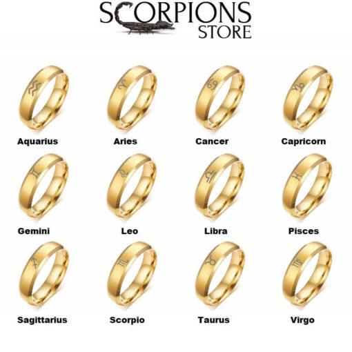 Gold Scorpio Ring collection Zodiac