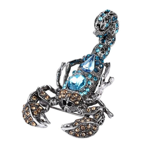 Ice Blue Rhinestone Scorpion Brooch