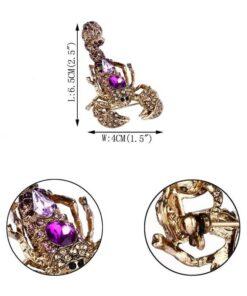 Rhinestone Scorpion Brooch Size