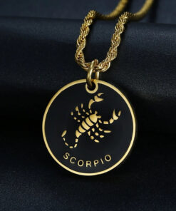 Scorpio Sign Necklace Stainless Steel Zodiac
