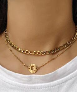 Scorpio Zodiac Pendant Necklace Gold